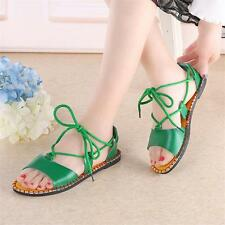 Womens Lace Up Strappy Roman Gladiator Sandals Flats Oxfords Summer Shoes New Y@