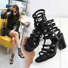 Womens Black Cow Leather Strappy Gladiator Sandals High Heels Summer Pumps New @
