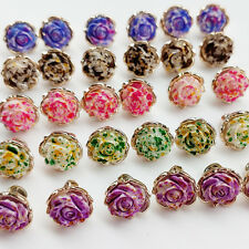40pcs Resin Flower Rose Button Sewing Clothes Dress Buttons Craft Doll Kid