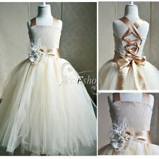 Princess Tulle Party Pageant Wedding Bridesmaid Prom Ball Gown Flower Girl Dress