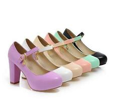 Womens Candy Colors Mary Janes Round Toe Chunky Block Heels strap Shoes New Size