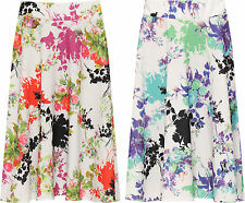 Womens Plus Floral Skater Skirt Ladies Print Knee Length Elasticated New 14-28