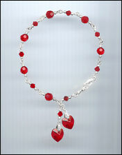 Beautiful Sterling Silver Charm Bracelet w/ Swarovski CHERRY RED Crystal Hearts