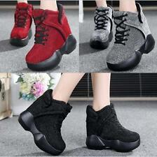 Womens Shoes Shiny Platform Wedges Super High Heel Chic Sneaker Ankle Boots New