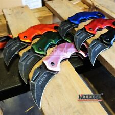 "6 COLORS 7.875"" KARAMBIT STONEWASHED TACTICAL Hawk Claw Blade COMBAT RAZOR Knife"