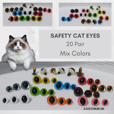 20 PAIR 10mm 12mm 15mm SLIT PUPIL Safety EYES Mix Colors Cat, Dragon, Frog SPE-1