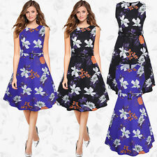 Womens 1950s Vintage Rockabilly Swing Dresses Retro Floral Cocktail Party Belted