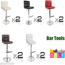 2X PU Leather Bar Stools Kitchen Dining Chairs Gas Lift Chrome Footrest 5 Colors
