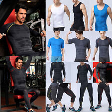New Mens Compression Base Layer Shirt Tops Pants Thermal Gym Running Sports Gear