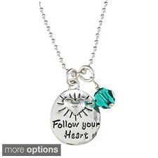 Lola's Jewelry Sterling Silver Crystal Birthstone 'Follow Your Heart' Necklace