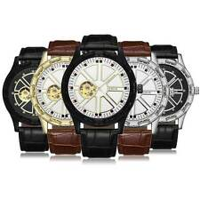 Leather Automatic Mechanical Wrist Watch Luxury Gift Skeleton Analog Display New