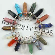Mixed Gemstone Hexagonal Pointed Reiki Chakra Healing Pendant Charms Beads HH6