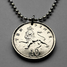 Great Britain 10 Pence coin pendant English Lion necklace crown British n001673