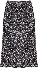 Plus Womens Elasticated Midi Skirt Ladies Floral Flower Print Flared New 16-30