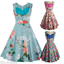 50'S 60'S ROCKABILLY DRESS Vintage Floral Swing Pinup Housewife Party Tea Dress