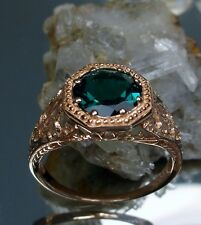 1ct Natural Green Emerald 14k Rose Gold Victorian Filigree Ring {Made To Order}