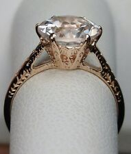 2ct White Topaz Sterling Silver & Rose Gold Edwardian Filigree Ring Size Any/MTO
