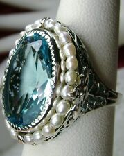 *Aquamarine* Seed Pearl Sterling Silver Victorian Filigree Ring Size Any/MTO