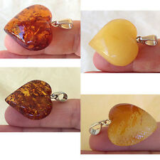 BALTIC HONEY or CARVED BUTTERSCOTCH AMBER STERLING SILVER HANDMADE HEART PENDANT