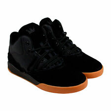 Supra Estaban Mens Black Suede & Leather High Top Lace Up Trainers Shoes
