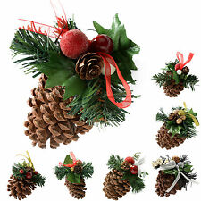 Decorated Pine Cone Christmas Decoration - Cream/Gold Black/Silver Red Pack of 5