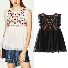Sleeveless Causal Chiffon Blouses Women's Fashion Flower Embroidered Shirt Tops