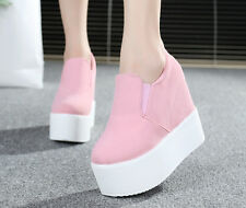 New Womens Platform Wedge Heel Ankle Boots Shoes Sneakers Fashion Canvas Sz 5-9