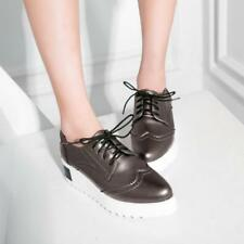Womens preppy lace up Comfort Creepers Platform wedge heel Casual wing tip Shoes