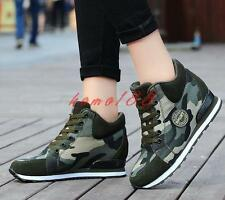 Womens Lace Up Camo High Top Fashion Sneakers Athletic Shoes hidden wedge heel