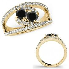 1.15 Ct Black Diamond Two Stone ByPass Vintage Anniversary Ring 14K Yellow Gold