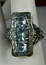 Blue Topaz Solid Sterling Silver Edwardian Filigree Ring Size {Made To Order}
