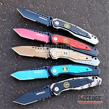 """5 COLOR 8.25"""" COMBAT TACTICAL SERRATED TANTO Blade ASSISTED OPEN Knife w/Emblem"""