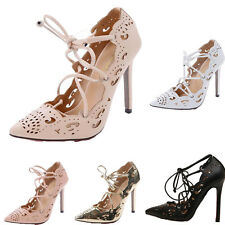 WOMENS LADIES LACE UP HIGH HEELS STILETTO STRAPPY CUT OUT SANDALS SIZE NEW G