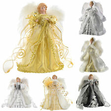 Angel Decoration Christmas Tree Top Topper with Feather Wings Gold Silver White