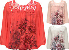 Plus Womens Chiffon Lined Sheer Lace Top Ladies Butterfly Print Long Sleeve New