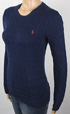 Ralph Lauren Navy Blue Cotton Cable Knit Crew Neck Sweater Red Pony NWT