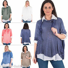 Womens Lagenlook 3Pcs Mesh Net Sequins Side Panel Scarf Top Plus Size 10 16 20