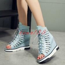 Womens peep Toe Roma Sandals Hollow Out Lace Up Wedge Heel high top Shoes Size