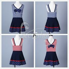 Girls 2Pcs Swimwear Striped Tankini Top+Swim Skirt Swimsuit Bathing Beach 1-12