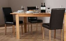 Bali & City Extending Oak Finish Dining Table and 4 6 Leather Chairs Set (Black)