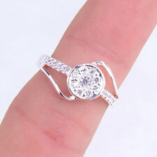 Stunning Fashion Round Crystal 925 Sterling Silver Ring Size 8 Jewelry H639