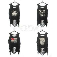Fashion Women Punk Skull Open Back Sleeveless Tassel Tank Top Vest T-shirt Black