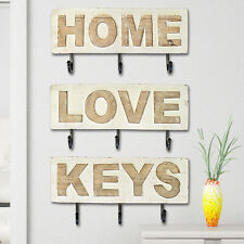 Shabby Chic Wooden Wall Mounted Coat / Key Rack With 3 Hooks - Natural Cream