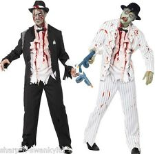 Mens 1920s Corpse Dead Zombie Gangster Halloween Fancy Dress Costume Outfit