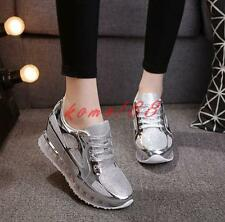 Fashion Mesh Sneakers Womens Breathable Lace Up Hidden wedge Heel sport Shoes