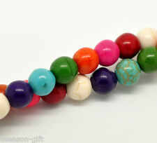 Wholesale Lots Mixed Howlite Turquoise Round Loose Beads 8mm 40cm
