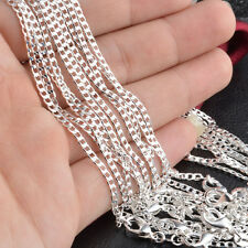 """Wholesale Hot Selling 10pcs 2mm 925 Silver Plated Curb Chain Necklace 16""""-30"""""""