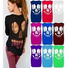 New Womens Plus Size Baggy T Shirt Ladies Sleeveless Back Cut Out Skull Vest Top