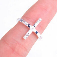 Gorgeous Crystal Cross Fashion 925 Sterling Silver Ring Size 8 Jewelry H671