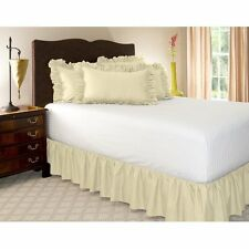1 Qty Bed Skirt Ruffle/Gathering Egyp.Cotton Drop 8-30 Inch Ivory Solid
